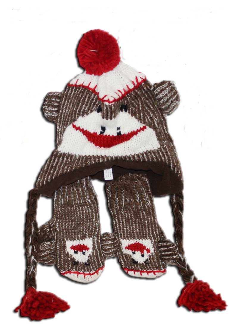 Amazon.com: Toddler Size Sock Monkey Hat with Mittens (Red/brown ...