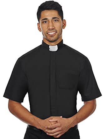 8e6a0e057b8 Amazon.com  Men s Short Sleeves Tab Collar Clergy Shirt Black  Clothing