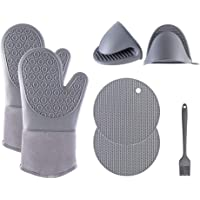 Silicone Oven Mitts Set, MOTYYA 7 Pcs Sets, Extra Long Non-Slip Heat Resistant Oven Gloves Come with 2 Cooking Pinch…