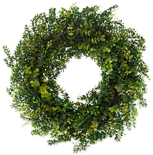 Artificial Boxwood Wreath 22 Inch, Year Round Full Green Wreath, Approved for Outdoor Display, Beautiful Gift Box Included