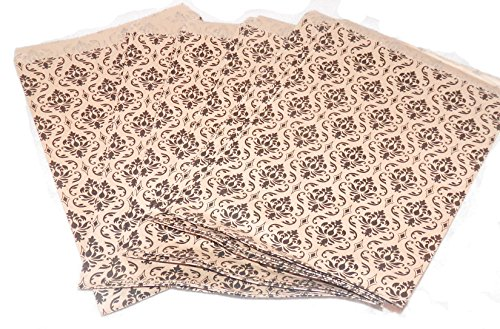 My Craft Supplies 100 Kraft Flat Merchandise Bags with Black Damask Print ()