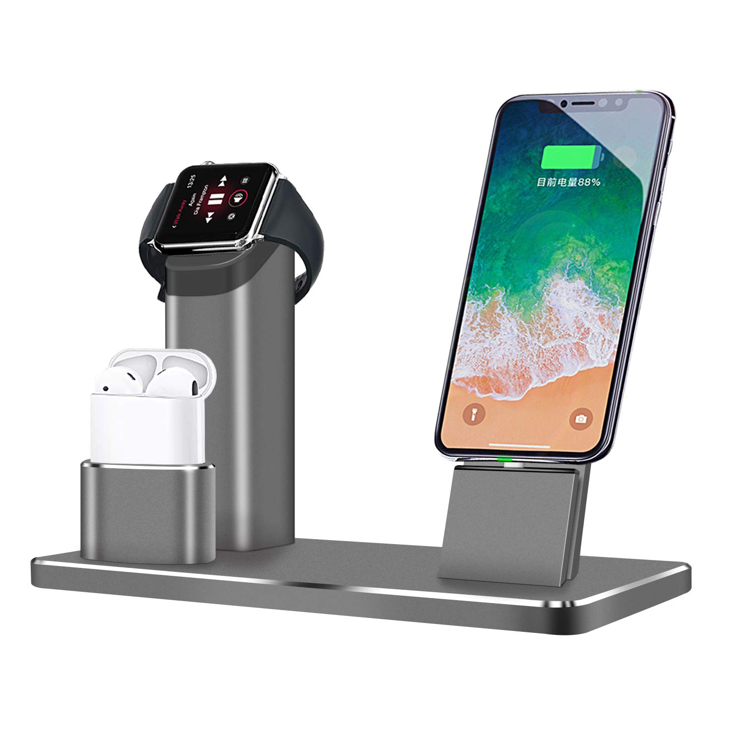 ASOON for Apple Watch Stand, 3 in 1 Aluminum Alloy Charging Station for Airpods/iPhone X/ 8 /7/ 6 /6S/ Plus/ iPad/Apple Watch (Gray)