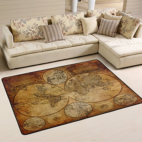 Home Art Decor Vintage Old World Map Area Rugs Pad Non-Slip Kitchen Mat for Living Room Bedroom 5' x 7' Doormats Home Decor