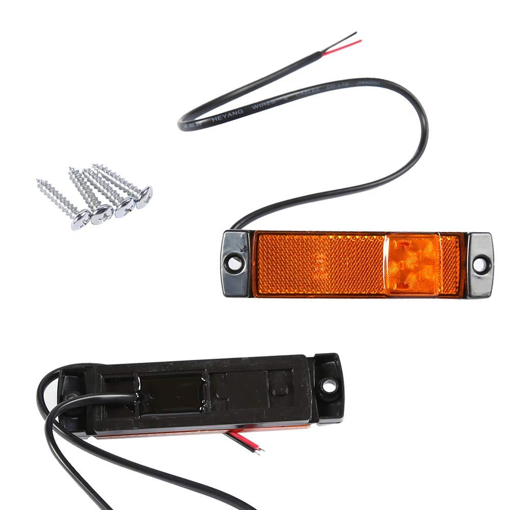LED Seitenmarkierungsleuchten 12//24V Lkw Wei/ß Markierungsleuchten Pkw Indikator Frontleuchte Signallampen f/ür Anh/änger Van Wohnwagen Lkw AOHEWEI 2 wei/ß