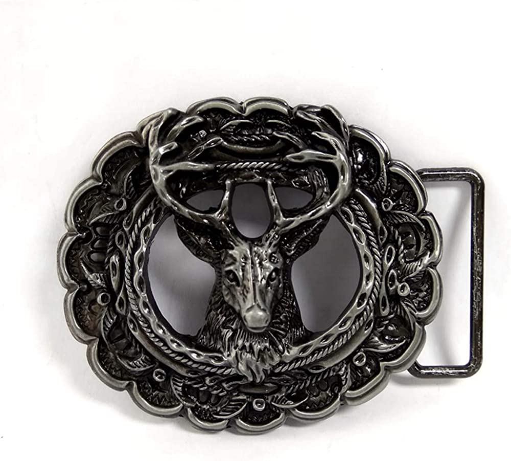 Antique Silver Embossed Horse Head Western Cowboy Smooth Oval Belt Buckle