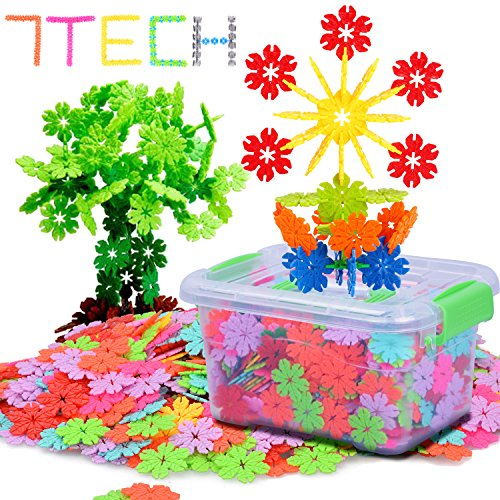 7TECH 600 Pcs Snowflake Building Blocks Stem Educational Toys Set for Kids, Creative & Development Connecting Toy for Preschool Boys and Girls