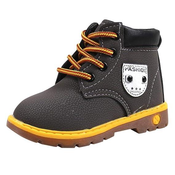 YanHoo Zapatos de otoño e Invierno Botas Individuales para niños Botas para niños y niñas con Botas de Viento británico Zapatillas de Deporte Botas niños ...