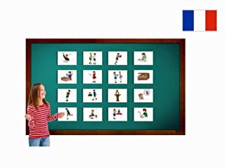 Carte illustrate educativi - Flashcard Lingua Francese - Action Words And Verbs Flashcards in French - Size 4.13 × 5.83 inch = DIN A6 (105 x 148 mm)