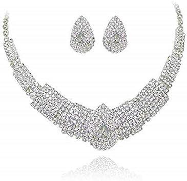 Femmes Mariage Couronne Strass Collier Bracelet Bague Boucles d/'oreilles Bijoux Sets