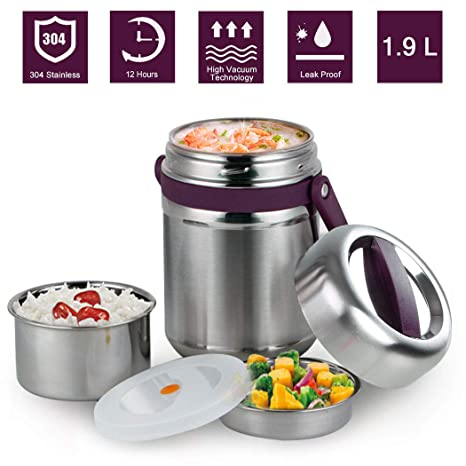 37280ef038a2 Vacuum Insulated Lunch Box 304 Stainless Steel Bento Box BPA Free Food  Storage Containers 3 Layers Thermal Insulating Lunch Box Containers Food  Jar ...