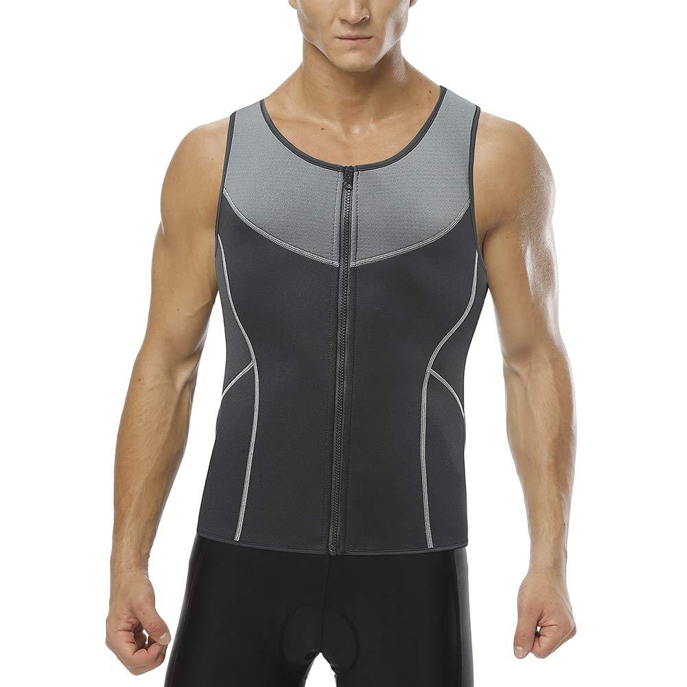 e8044daa82 Men Waist Trainer Corset Vest Weight Loss Hot Neoprene Body Shaper Tank Top  Sauna Suit Shirt No Zip Trimmer Gray XS