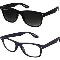 ELEGANTE Black Transparent Wayferer Men's Sunglasses Combo