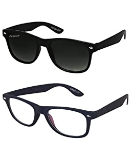 ELEGANTE Black Transparent Wayferer Men's Sunglasses Combo