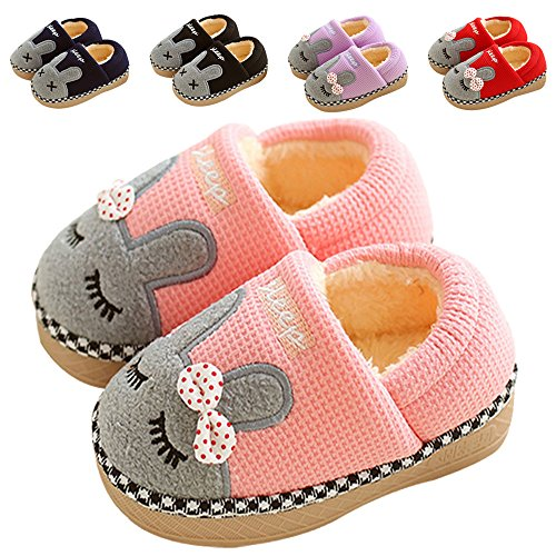 Cute Home Shoes, SITAILE Kids Fur Lined Indoor House Slippers Bunny Cartoon Warm Shoes (Toddler/Little Kid) Pink, 16-17 (Cute Childrens Shoes)