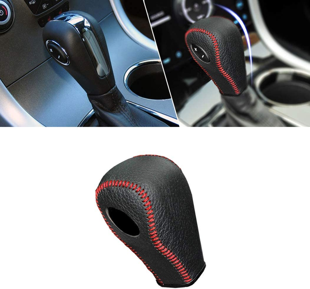 for at Ford Focus 12-18 New Fiesta 13-14 Ecosport 16-18 New Mondeo 1.5 13-15 Escort 15-17 Kuga 13-15 Kuga 2018 Leather Gear Shift Lever Cover Non-Slip Manual Automatic Shifter Head Protector Red A