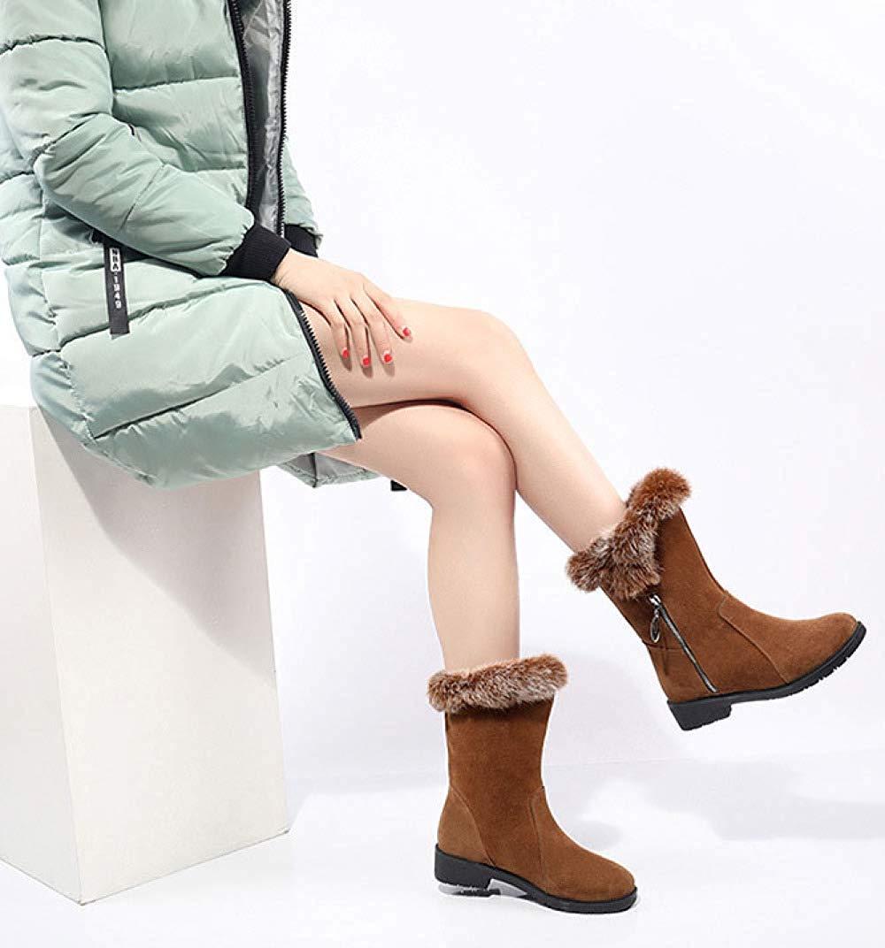 Weibliche Herbst Und Winter Mode Hohe Hohe Hohe Stiefel Schnee Stiefel Stiefeletten (Farbe   Braun, Größe   39EU) e3abf3