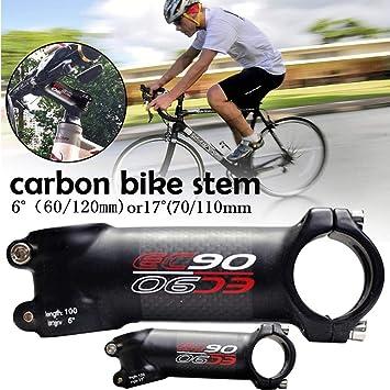 starter Manillar para Bicicleta Stem - EC90 Bike Stem Bike Fibra De Carbono Stem Riser para Bicicleta MTB Road Bike 31.8mm Angulo 6/17 Bicicleta Tallo Bicicleta Potencia: Amazon.es: Deportes y aire libre
