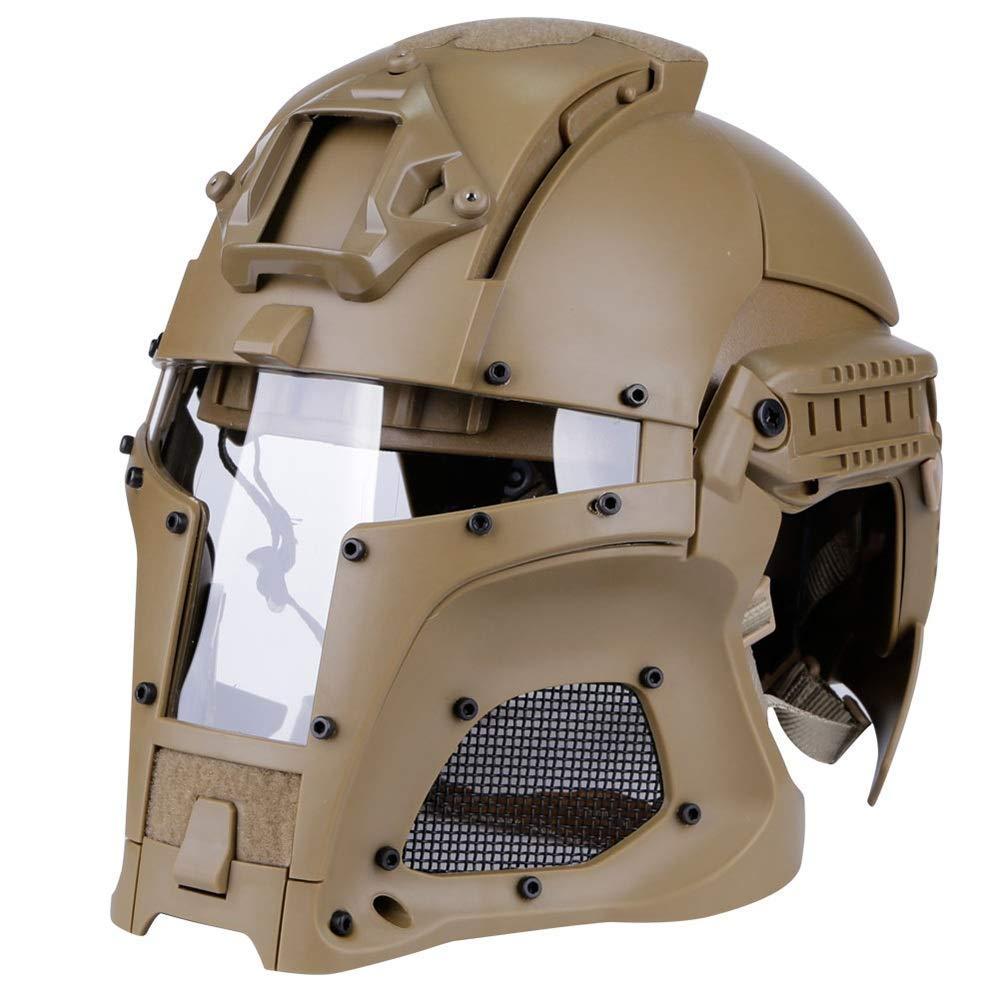 AsDlg Outdoor Retro Design Einteiliger Helm mit Maske Maske Helm Hoher Widerstand Verformbar Offene Maske Helm, Verstellbarer Kopfumfang Fahrradhelm