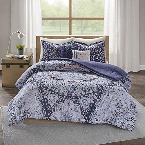 (Intelligent Design Odette 5 Pieces Boho Printed Solid Microfiber Comforter Set Bedding, Full/Queen Size, Blue)
