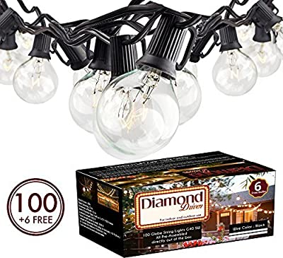 100Ft G40 Globe String Lights with Clear Bulbs UL Listed for Indoor/Outdoor Commercial Use, Retro Outdoor String Lights for Patio Backyard Cafe Bistro Garden Porch Umbrella Tents Decks