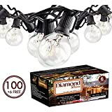 100Ft G40 Globe String Lights with Clear Bulbs UL Listed for Indoor/Outdoor Commercial Use, Retro Outdoor String Lights for Patio Backyard Cafe Bistro Garden Porch Umbrella Tents Decks (Black1)