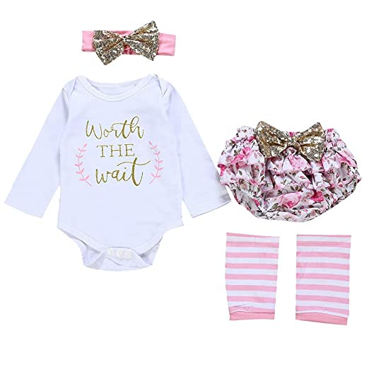 ba6f4fb3f Lucoo Winter Outfits Set,4PCS Infant Baby Girls Letter Romper+Leg Warmers+ Headband