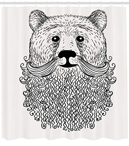 Ambesonne Indie Shower Curtain, Doodle Style Sketch Bear Portrait with Curly Beard and Mustache Cute Cool Animal, Fabric Bathroom Decor Set with Hooks, 70 inches, Black White