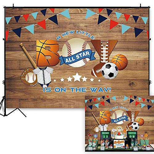 (Funnytree 7x5ft All Star Sports Party Backdrop Baseball Little Boy Baby Shower Rustic Wooden Photography Background Football Batter Up Bunting Retro Wood Banner Cake Table Decoration Photo)