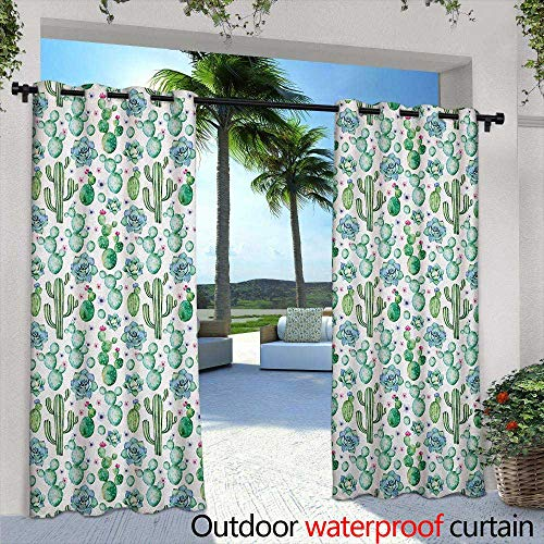 Cactus Curtains for Bedroom Hand Painted Style Exotic Plant Collection Saguaro Prickly Pear Succulents Spikes Grommet Curtains for Bedroom 72