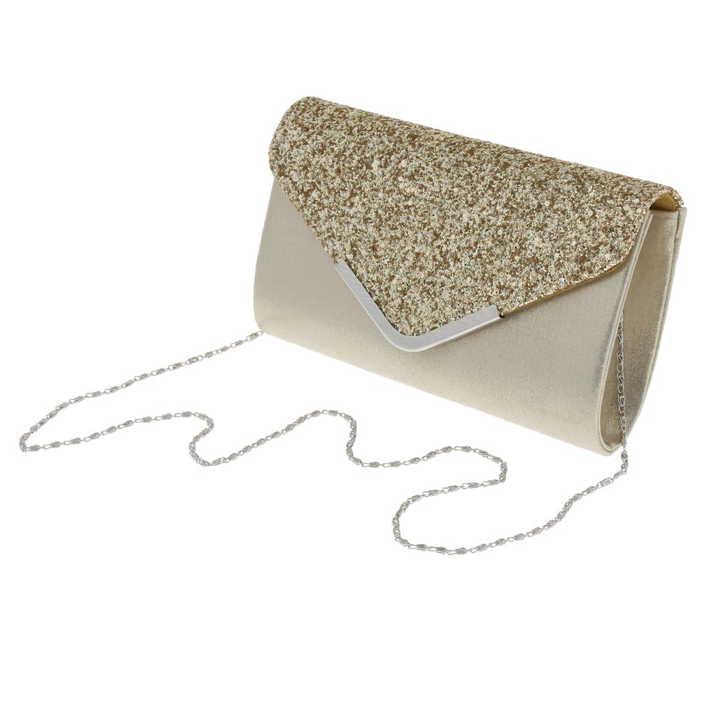 Fityle Vintage Sequin Envelope Clutch Purse Evening Party Bag Crossbody Chain for Women