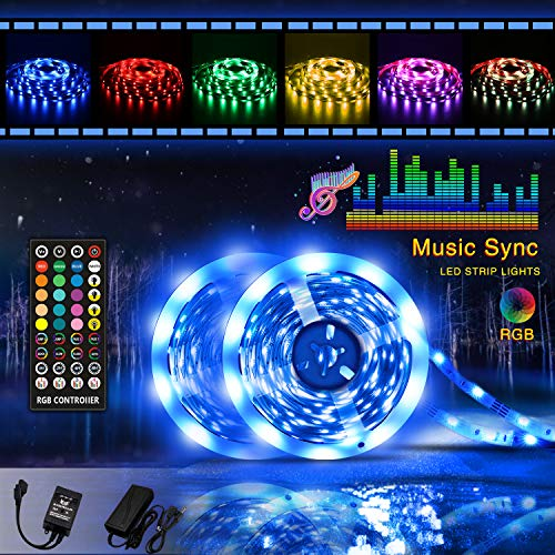 Led strip lights, Tenmiro 32.8ft RGB Sync to Music Color Changing Strips,40key IR Remote Controller, DC12V5A 300 Unit SMD 5050 LED,Non-Waterproof,Decoration for Living Room Bedroom Bar,Party Lighting ()