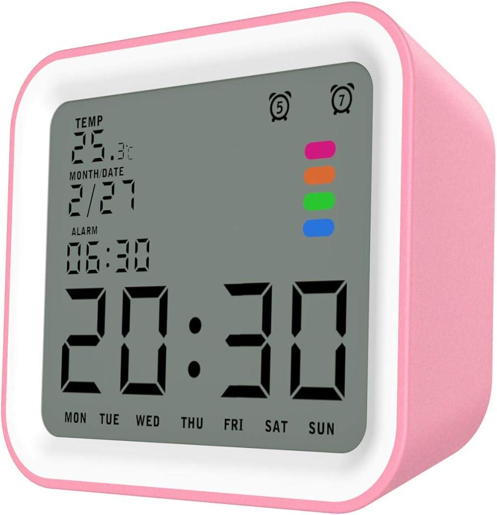 MoKo LCD Digital Reloj Despertador Cuadrado, Reloj Alarma Inteligente de 3.5