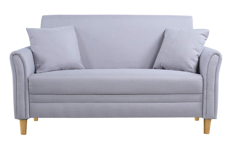 Divano Roma Furniture Modern 2 Tone Small Space Linen Fabric Loveseat (Light Grey)
