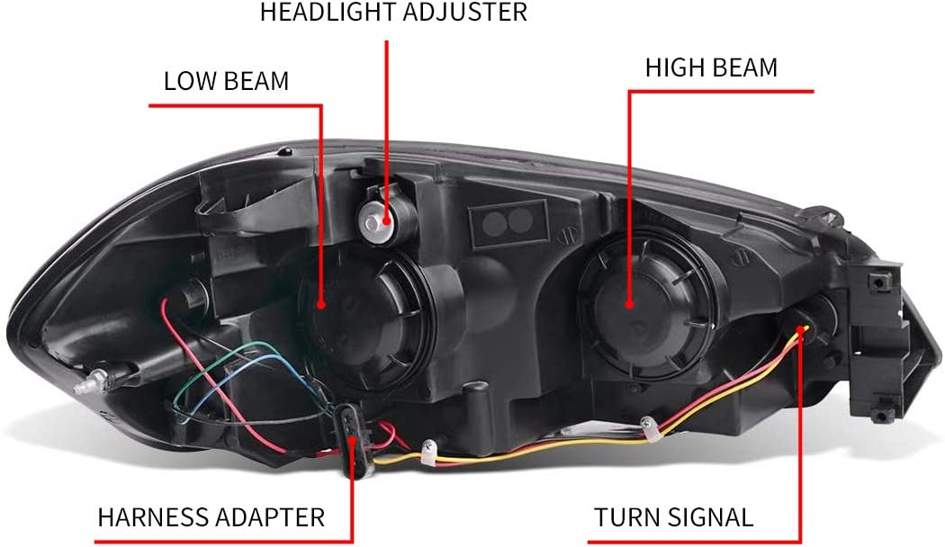 SHAREWIN Replacement For Impala 2006 2007 2008 2009 2010 2011 2012 2013 Monte Carlo 2006 2007 Headlights Headlamp Assembly Chrome Housing Amber Reflector Passenger and Driver Side