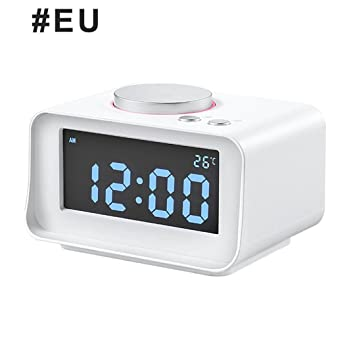 NAOZHONG Reloj Despertador Digital Radio Fm Ruidoso Despertador Para Dormilones Pesado Con Doble Alarma,Aux In Y Dos Puertos De Carga Usb Ue Blanco: ...