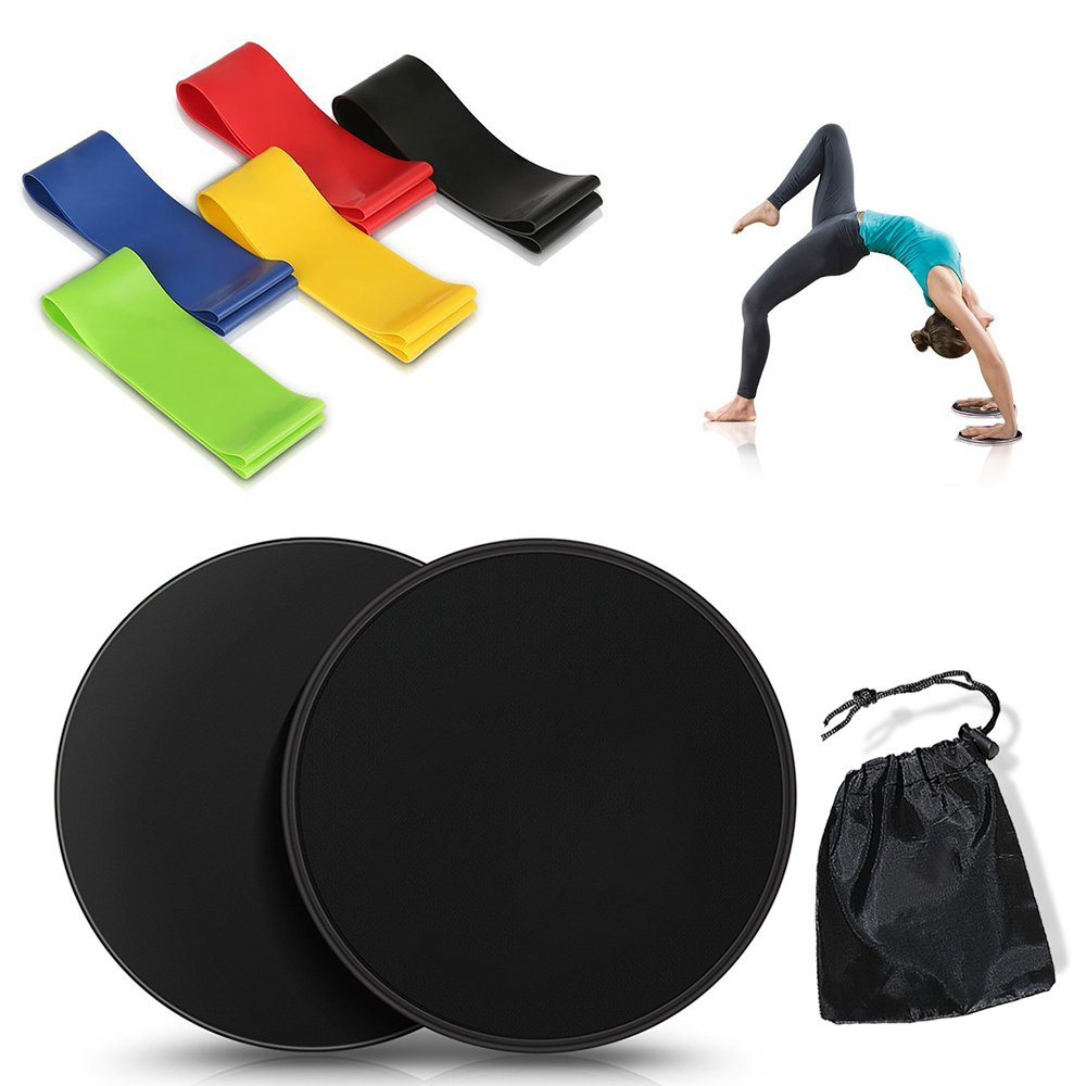 Sliders Fitness and Resistance Exercise Bands, Celover Core Sliders Discs(2) & Resistance Loop Bands(5), Portable Exercise Equipment For Home & Outdoor Fitness Workout, Stretching and Physical Therapy