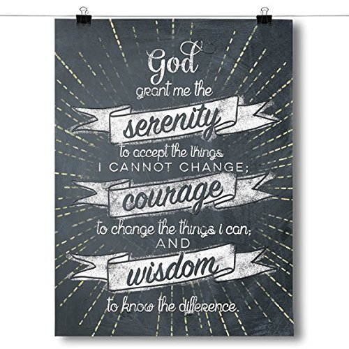 Inspired Posters Serenity Prayer - Chalk Background Poster Size 8x10