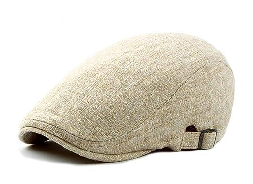 e185672f CHENNUO Vintage Cotton Linen Flat Cap Mens Beret Cabbie Hat Ivy Newsboy Cap  Driving Hat (