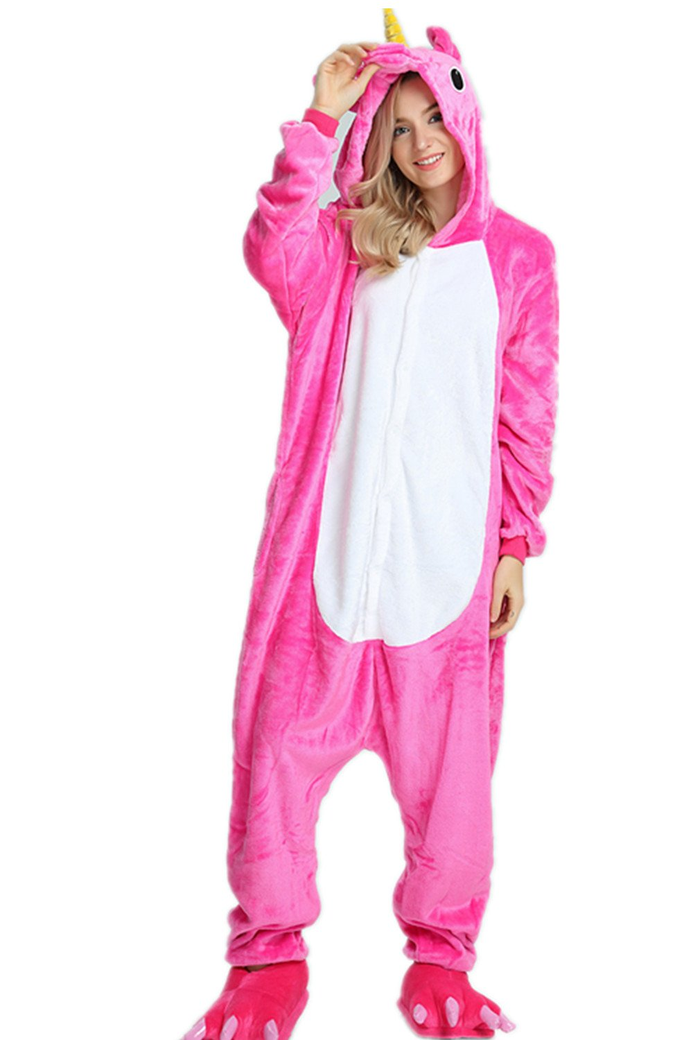 Kenmont Adult Animal Unicorn Pajamas Halloween Cosplay Costume Pajama Outfit (XL, Rose)