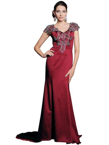 Zhiyuan - Vestido - trapecio - para mujer Rojo granate X-Large