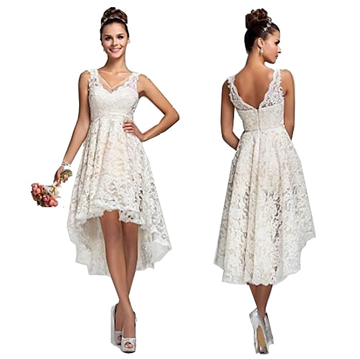 CARADRESS Lace Wedding Dresses Short 2016 Under 100 Hi Low Women Prom Dresses at Amazon Womens Clothing store: