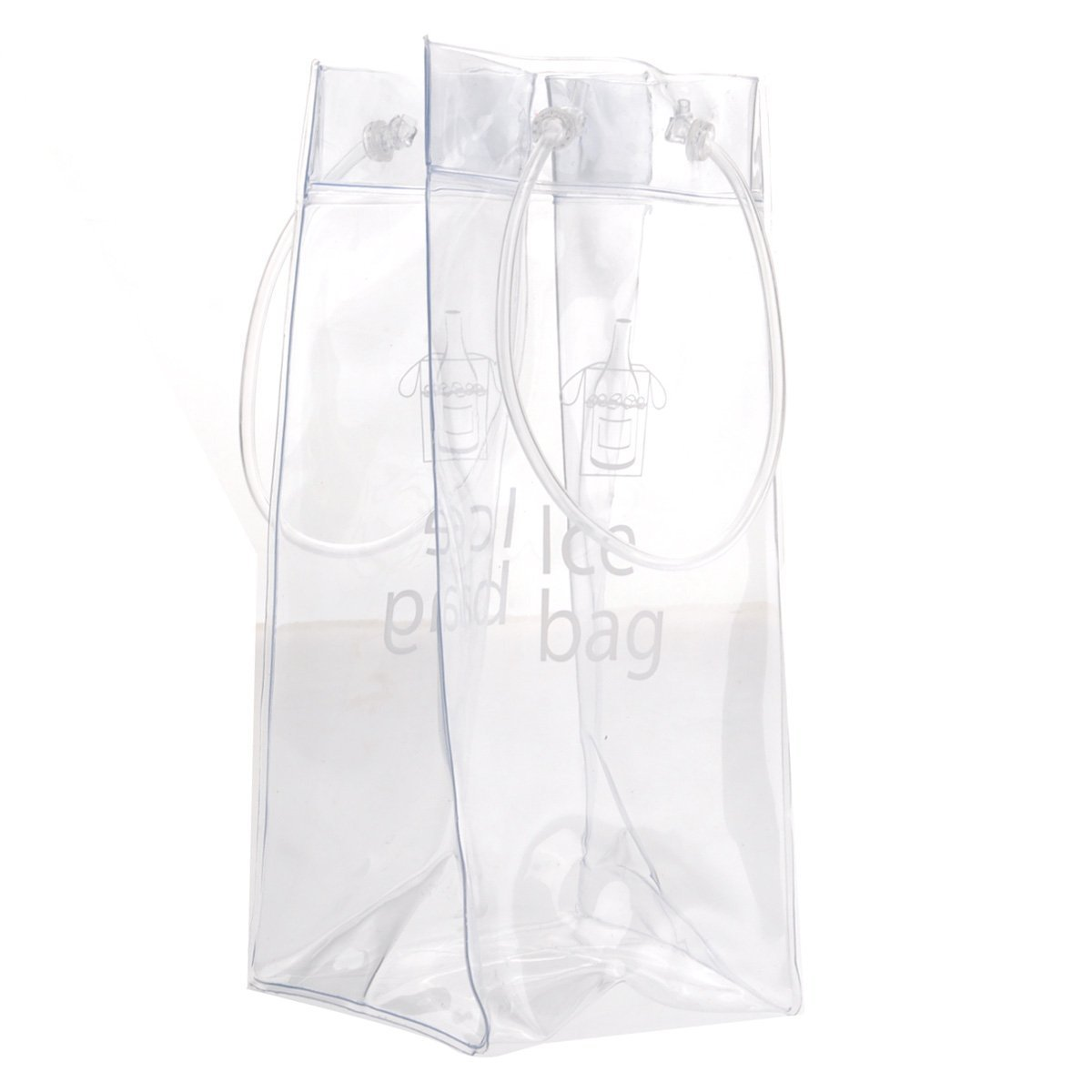 Akak Store 1 Pcs Portable Collapsible Clear Transparent PVC Ice Bag Champagne Wine Pouch Cooler Bag with Handle by AKOAK (Image #1)