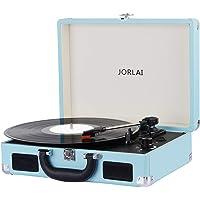 JORLAI Tocadiscos de Vinilo Recargable de 3 velocidades Maleta Portátil con 2 Altavoces Integrados, Soporte Vinyl-to-mp3 Grabacion/Auriculares/Entrada AUX/Salida RCA (Azul-Negro)