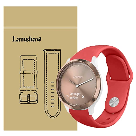 for Garmin Vivomove HR Bands, Lamshaw Quick Release Soft Silicone Breathable Sport Strap Replacement Wristband for Garmin Vivomove HR Smartwatch (Red)