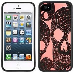 Pink Skulls Handmade iPhone 5 5S Black Bumper Plastic Case