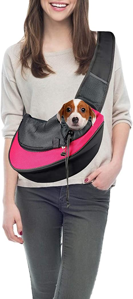 Blue Pet Carry Bag Pet Travel Sling Dog Carrier Small Pet Holder Bag Shoulder Bag Breathable Pet Leg Free Bag