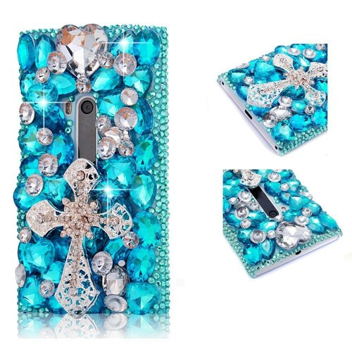 EVTECH(TM) 3D Crystal Cross Rhinestone Bow Diamond Flower Design Case Cover for Nokia Lumia 920(100% Handcrafted)