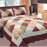 mk collection california king 3pc bedspread floral patchwork off white burgundy pink beige coverlet set new - California King Bedspreads