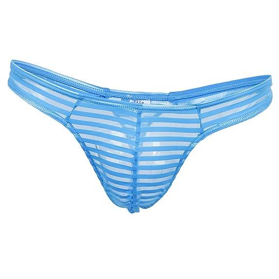 Sharplace Calzoncillos de Hombre Jockstrap Raya Malla Transparente Bolsa Atractivos Ropa Interior T-back -