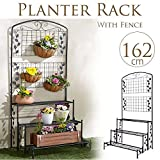 Sungmor Heavy-duty 3 Tiers Planter Rack with Fence,Black Iron Art Gardening Plants Flower Pot Stands Supporter,31.5''Length x 23.6''Width x 63.8''Height